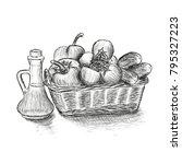 food basket with vegetables...   Shutterstock .eps vector #795327223
