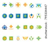 medical set logoyype concept... | Shutterstock .eps vector #795334447