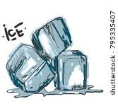 hand drawn sketch ice cube. eco ... | Shutterstock .eps vector #795335407