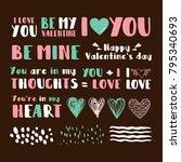 set of cute phrases for... | Shutterstock .eps vector #795340693