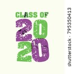 the words class of 2020 concept ... | Shutterstock .eps vector #795350413