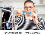 teenager girl with 3d printe.... | Shutterstock . vector #795362983