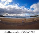 Small photo of Fisheye View of Magnificent Bondi Beach with Favourable Weather Conditions.
