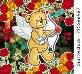 cute teddy bear on a mosaic... | Shutterstock .eps vector #795366967