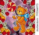 cute teddy bear on a mosaic... | Shutterstock .eps vector #795366973