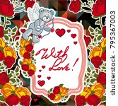 cute teddy bear on a mosaic... | Shutterstock .eps vector #795367003