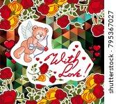 cute teddy bear on a mosaic... | Shutterstock .eps vector #795367027