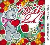 cute teddy bear on a mosaic... | Shutterstock .eps vector #795367033