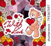 cute teddy bear on a mosaic... | Shutterstock .eps vector #795367057