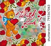 cute teddy bear on a mosaic... | Shutterstock .eps vector #795367063