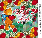 cute teddy bear on a mosaic... | Shutterstock .eps vector #795367087