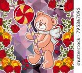 cute teddy bear on a mosaic... | Shutterstock .eps vector #795367093