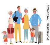 6 people travel family... | Shutterstock .eps vector #795369637