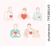 man characters send love hearts ... | Shutterstock .eps vector #795380143