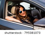 asian woman driving on the car... | Shutterstock . vector #795381073