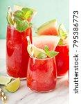 watermelon summer drink with... | Shutterstock . vector #795386773