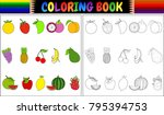 coloring book with fresh fruits ... | Shutterstock .eps vector #795394753