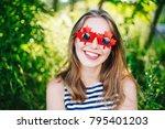 portrait of funny beautiful... | Shutterstock . vector #795401203