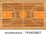 basketball court floor with... | Shutterstock .eps vector #795403807