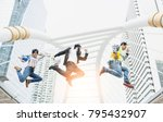 the three engineers are jumping ... | Shutterstock . vector #795432907