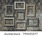 old photo frames on retro... | Shutterstock . vector #795455377
