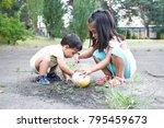happy latin little siblings... | Shutterstock . vector #795459673