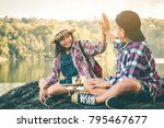 tourists boy and girls travel... | Shutterstock . vector #795467677
