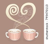 two cocoa or coffee cups with... | Shutterstock .eps vector #795470113