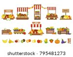 vegetables market stands set | Shutterstock .eps vector #795481273