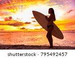 surfer bikini girl on hawaii... | Shutterstock . vector #795492457