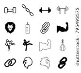 strength icons. set of 16... | Shutterstock .eps vector #795493573