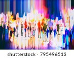 crowd of anonymous people... | Shutterstock . vector #795496513
