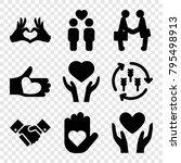 hands icons. set of 9 editable...   Shutterstock .eps vector #795498913