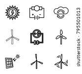 renewable icons. set of 9... | Shutterstock .eps vector #795501013