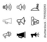 megaphone icons set of 9