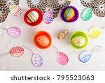 happy easter. watercolor set of ... | Shutterstock . vector #795523063