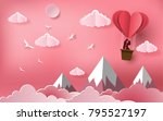 cute couples in love hugging ... | Shutterstock .eps vector #795527197