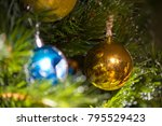 blinking garland. christmas tree | Shutterstock . vector #795529423