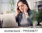 working woman have a headache | Shutterstock . vector #795534877