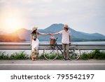 couple traveler standing beside ... | Shutterstock . vector #795542197