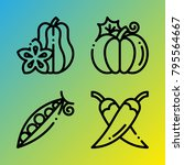 vegetarian vector icon set... | Shutterstock .eps vector #795564667