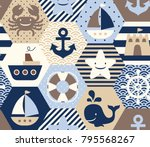 seamless nautical themed vector ... | Shutterstock .eps vector #795568267