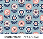 seamless retro pattern with... | Shutterstock .eps vector #795573463