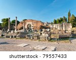 Small photo of View at the Basilica Aemilia ruins at the Roman Forum, Rome, Italy