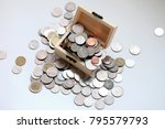 thai baht coins in the box with ... | Shutterstock . vector #795579793