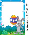 frame with easter bunny topic 9 ... | Shutterstock .eps vector #795581137