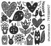 scandinavian doodles elements.... | Shutterstock .eps vector #795588907
