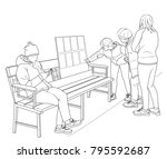 sketch of a group of...   Shutterstock . vector #795592687