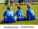 children soccer team watching... | Shutterstock . vector #795597547