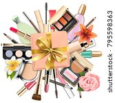 vector makeup cosmetics with... | Shutterstock .eps vector #795598363